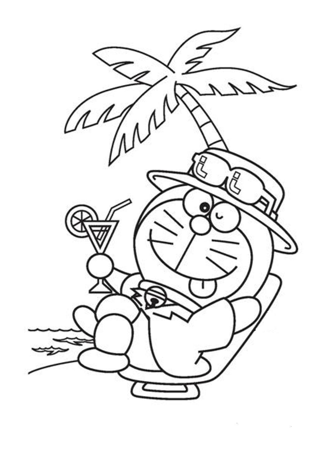Dibujos De Vacaciones De Verano Con Doraemon Para Colorear Pintar E