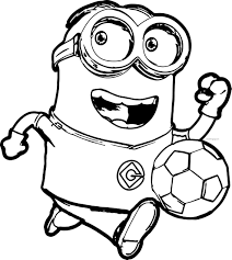 Dibujos De Minion Jugar Al Fútbol Para Colorear Pintar E