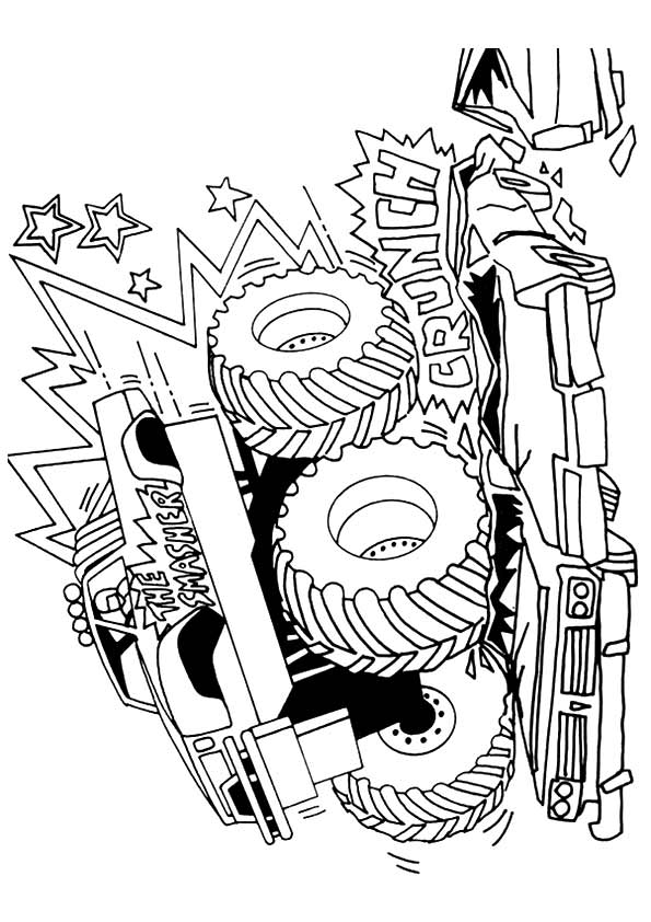 Click to see printable version of Camión Monstruo Aliento de Dragón Coloring page