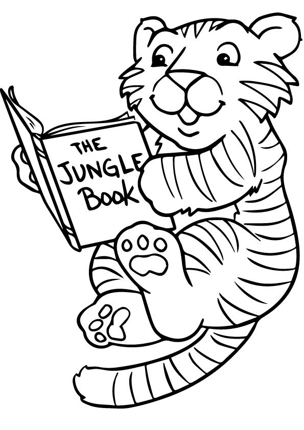 Dibujos de Tigre Leyendo Libro para Colorear, Pintar e Imprimir ...
