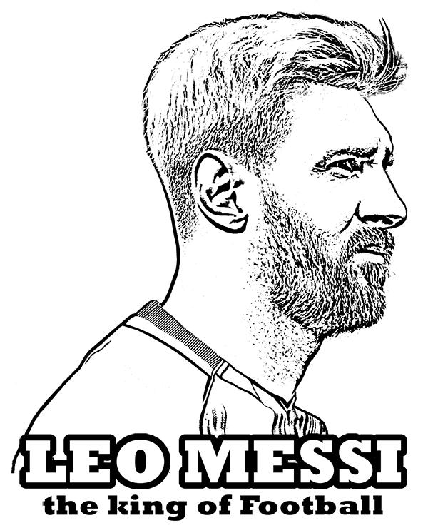 Dibujos de Lionel Messi el Rey del Fútbol para Colorear, Pintar e