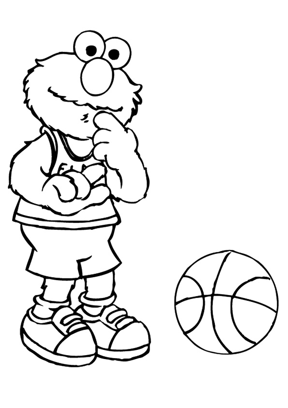 Click to see printable version of Elmo con Una Pelota Coloring page