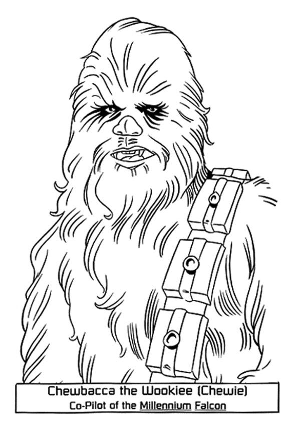 dibujos de chewbacca en star wars para colorear  pintar e
