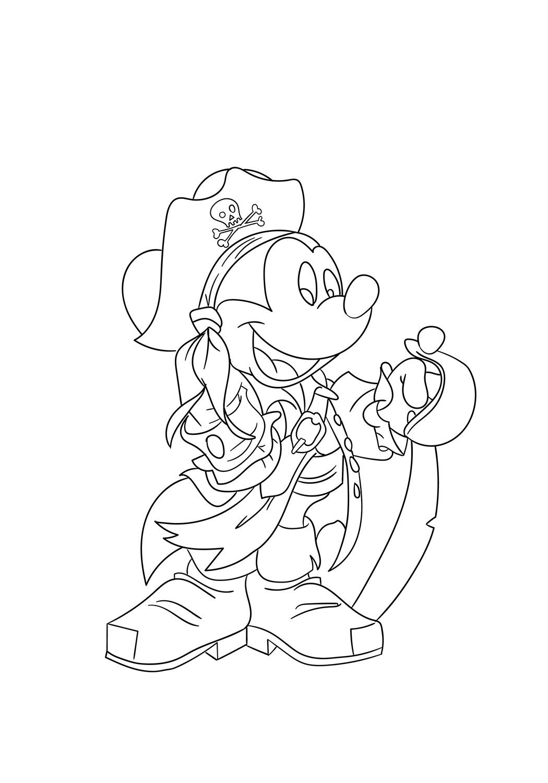 Dibujos de Pirata Mickey Mouse para Colorear, Pintar e ...