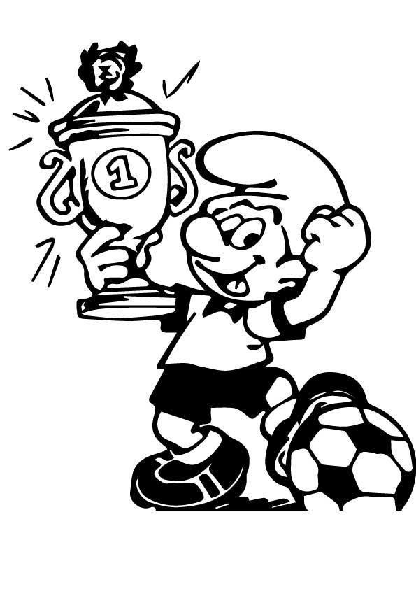 Dibujos de Pitufo Con Copa Fútbol para Colorear, Pintar e Imprimir ...