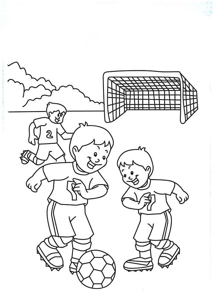 Click to see printable version of Niños Jugando Fútbol Coloring page