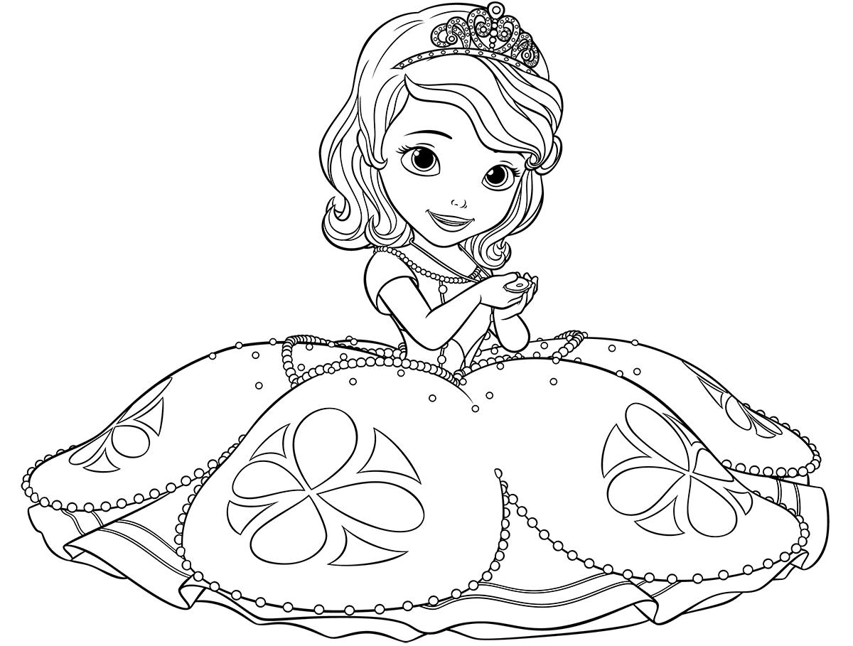Princesas Para Colorear Pintar E Imprimir: Dibujos De Princesa Sofia Para Colorear, Pintar E Imprimir