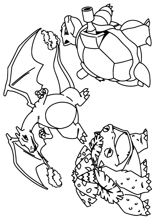 Dibujos de Venusaur, Charizard And Blastoise para Colorear, Pintar e ...