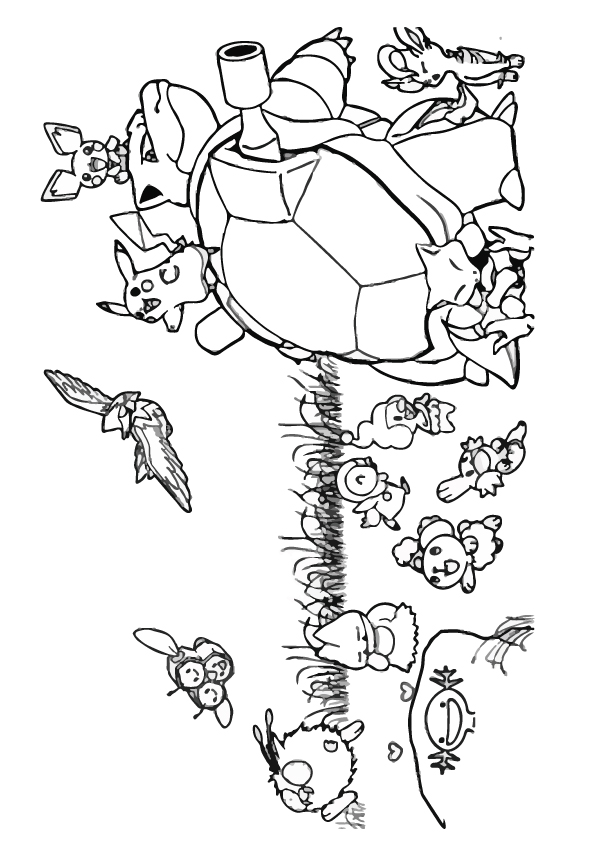 Dibujos de Pikachu y Blastoise para Colorear, Pintar e Imprimir ...
