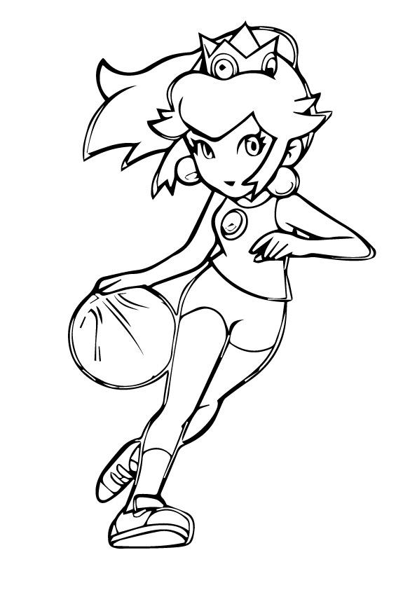 Dibujos de Princesa Peach Jugando Béisbol para Colorear, Pintar e ...