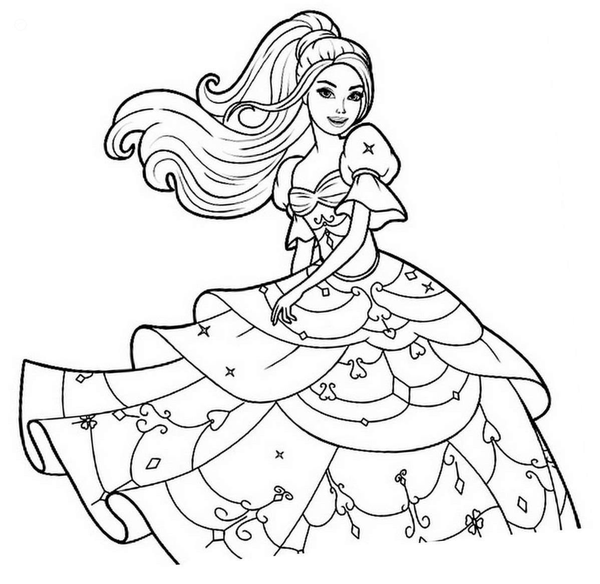 Dibujos De Hermoso Princesa Barbie Para Colorear Pintar E Imprimir