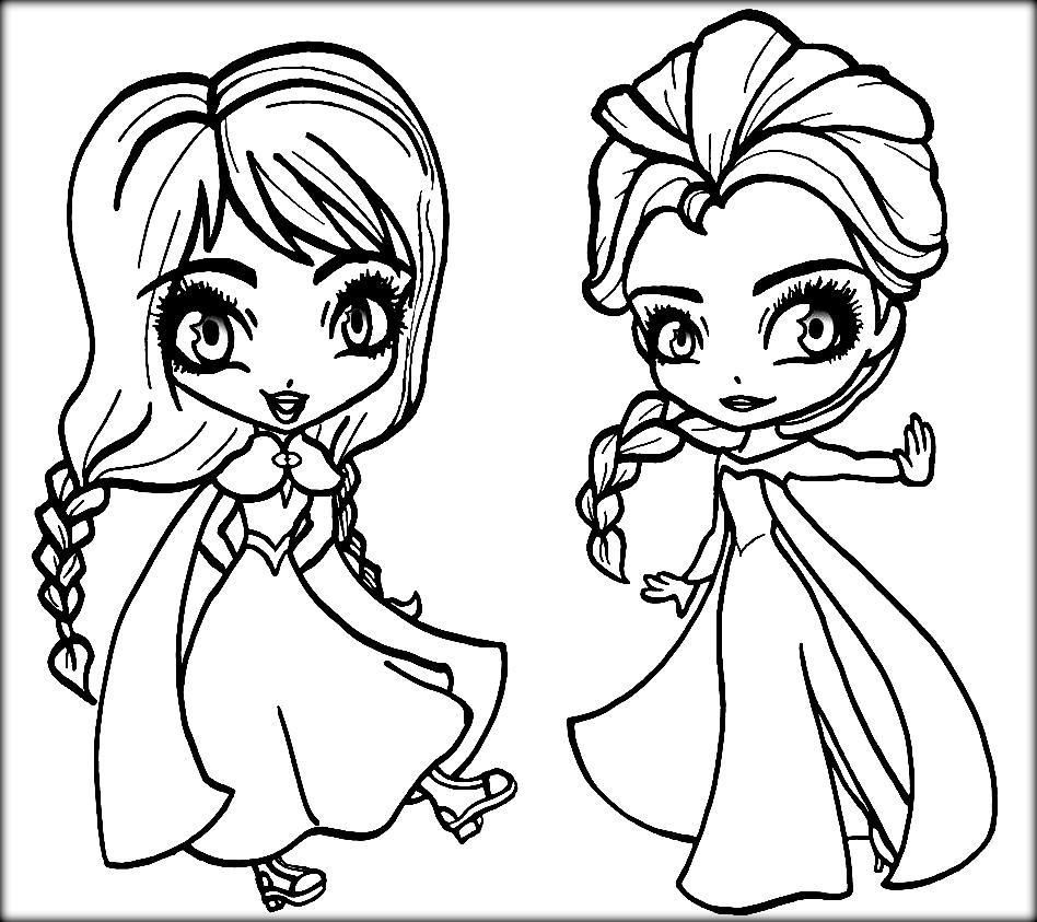 Dibujos De Chibi Anna Y Elsa Para Colorear Pintar E