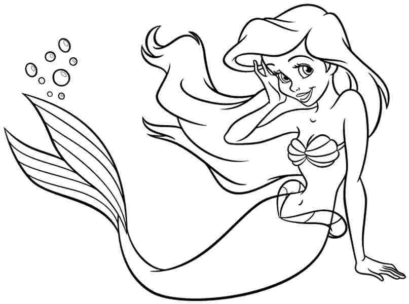Dibujos de Princesa Ariel Sonriendo