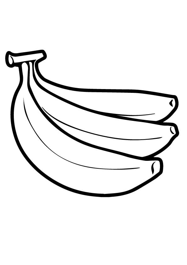 Dibujos de Tres Plátanos para Colorear, Pintar e Imprimir
