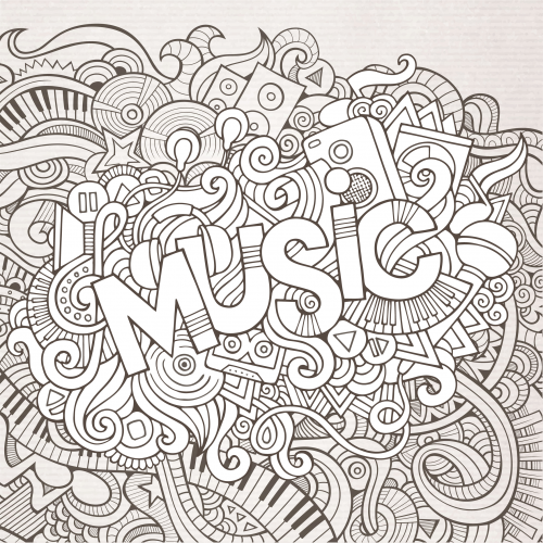 Click to see printable version of Música Coloring page