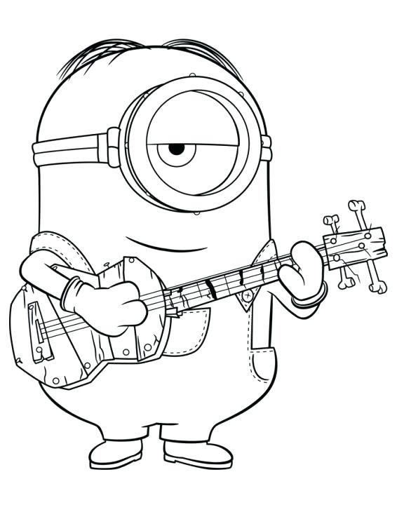 Dibujos de Minion Tocando El Guitarra para Colorear, Pintar e ...