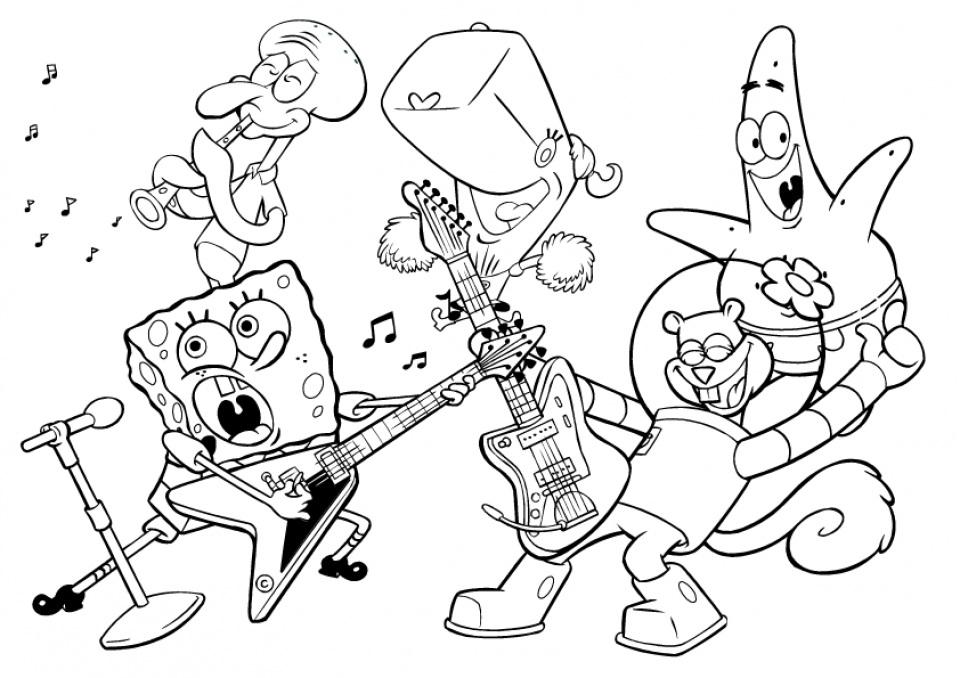 Dibujos de Bob Esponja y Sus Amigos Tocando la Guitarra para ...