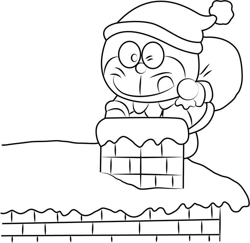 Dibujos de Doraemon En Navidad para Colorear, Pintar e Imprimir