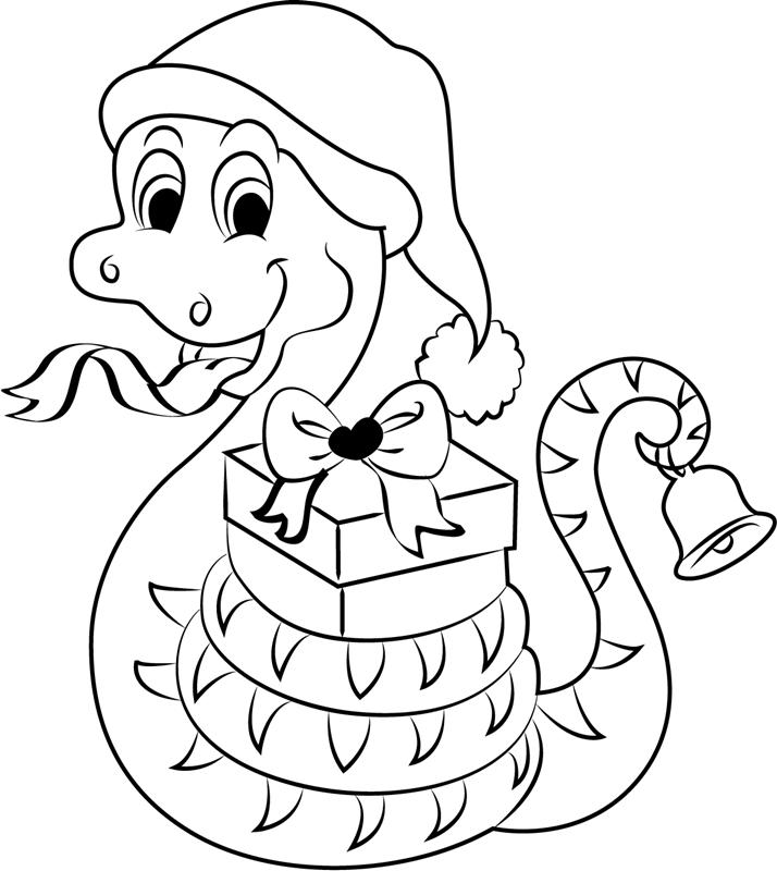Dibujos De Serpiente De La Navidad Para Colorear Pintar E Imprimir