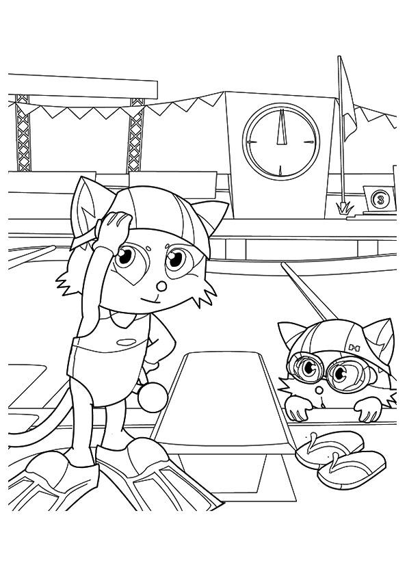 Dibujos De Gatitos En La Piscina Para Colorear Pintar E