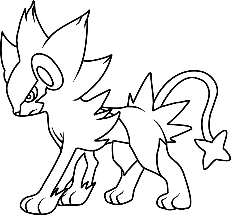 dibujos de luxray pokemon para colorear  pintar e imprimir