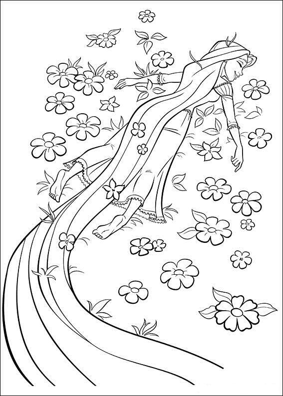 Dibujos De Rapunzel Acostado En Flores Para Colorear Pintar E
