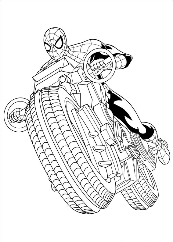 Dibujos De Spiderman Conduciendo Motocicleta Para Colorear Pintar E