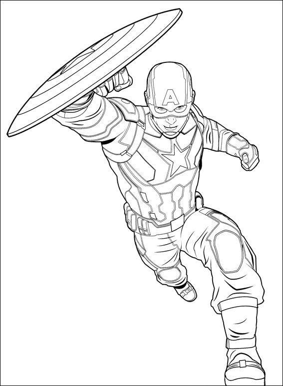 Dibujos de Capitán América Corriendo para Colorear, Pintar e ...