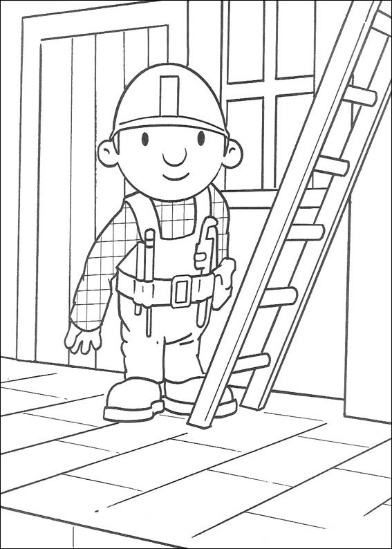 Dibujos De Bob Con Escalera Para Colorear Pintar E Imprimir