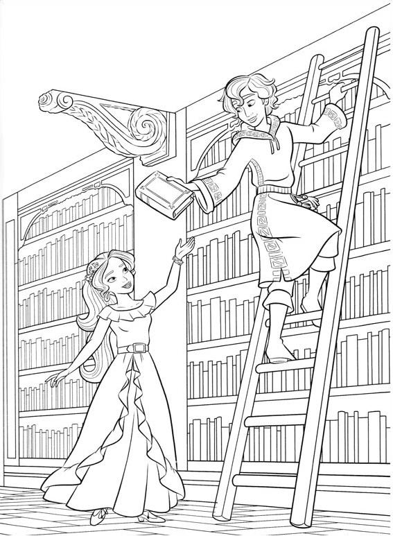 Dibujos De Elena Y Mateo En Biblioteca Para Colorear Pintar E