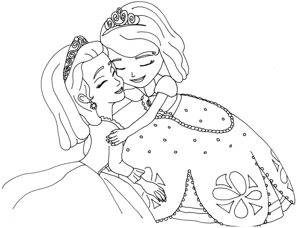 Dibujos De Sofia Abrazo Amber Para Colorear Pintar E Imprimir