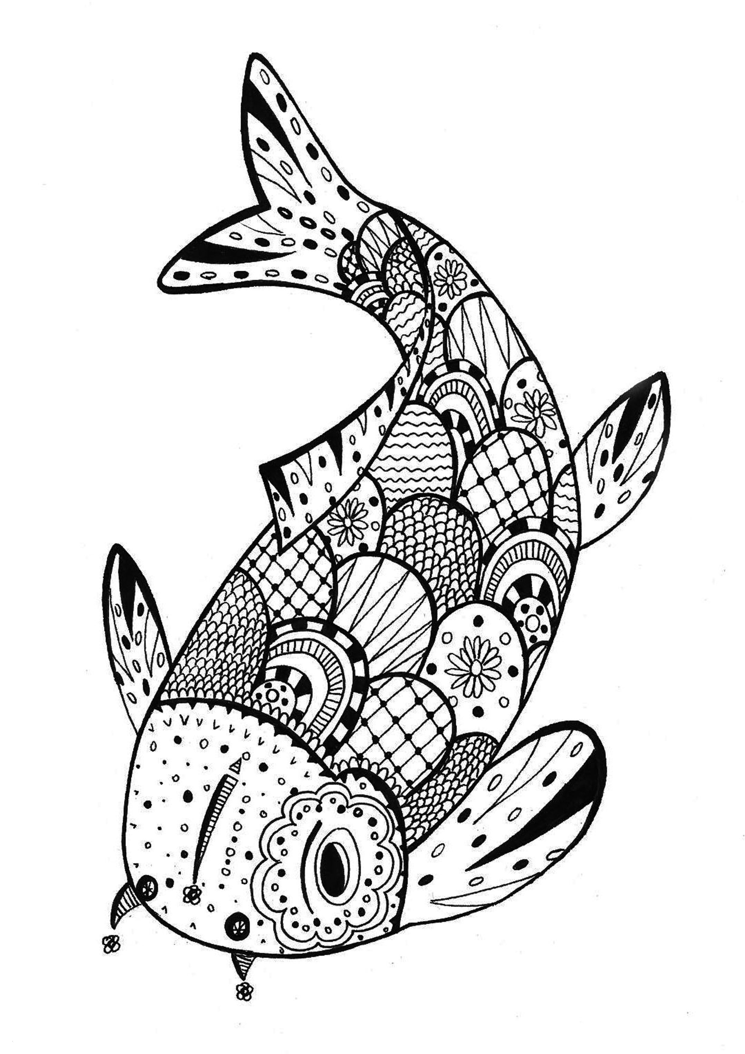 Dibujos De Pez Koi Mandala Para Colorear Pintar E Imprimir