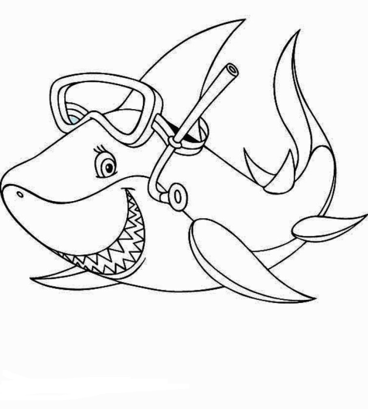 Dibujos De Buceo Con Tiburones Para Colorear Pintar E