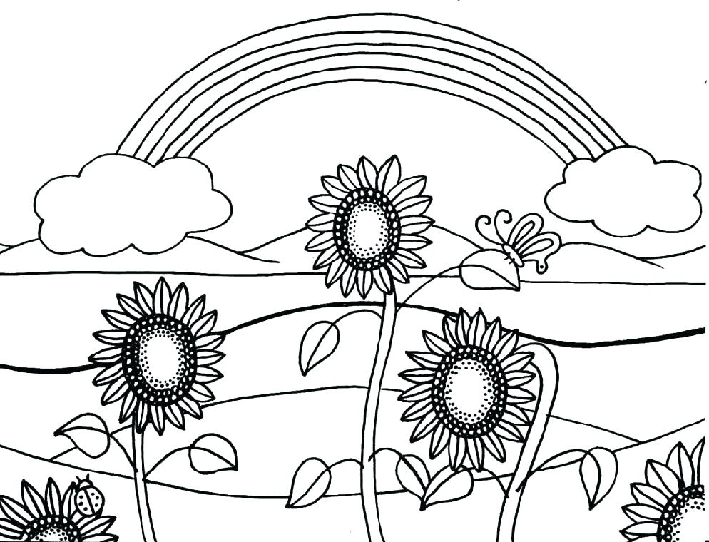 Dibujos de Girasol y Arcoiris para Colorear, Pintar e Imprimir ...