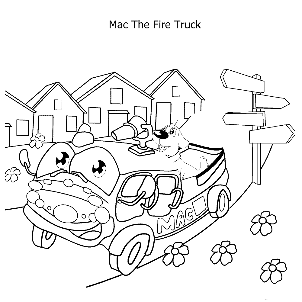 Click to see printable version of Mac el Camión de Bomberos Coloring page