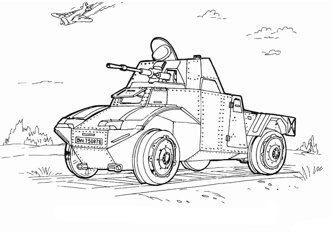 Click to see printable version of Vehículos del Ejército Coloring page