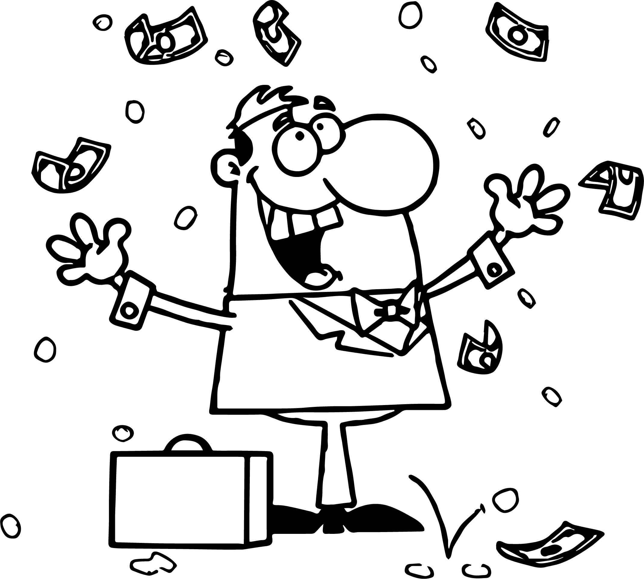 Dibujos De Hombre De Negocios Con Dinero Para Colorear