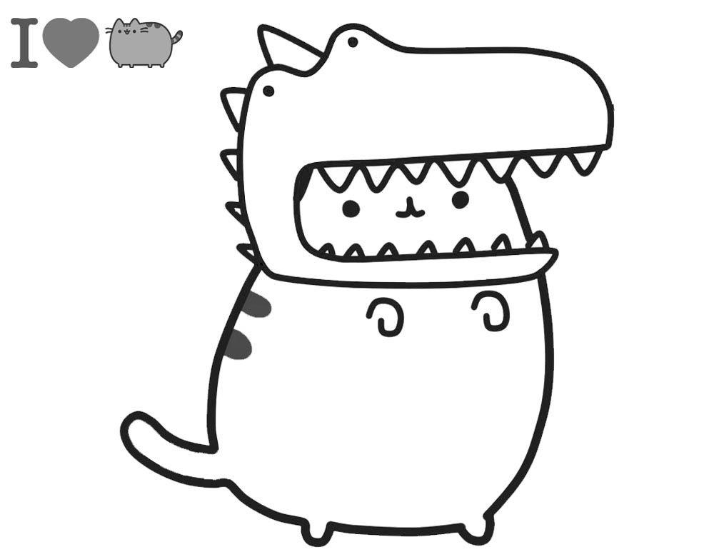 Dibujos De Pusheen Con Sombrero De Dinosaurio Para Colorear
