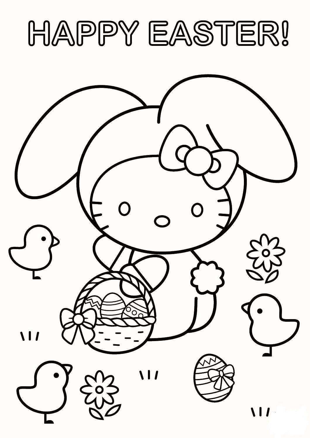 Click to see printable version of Hola Kitty con Huevo de Pascua Coloring page