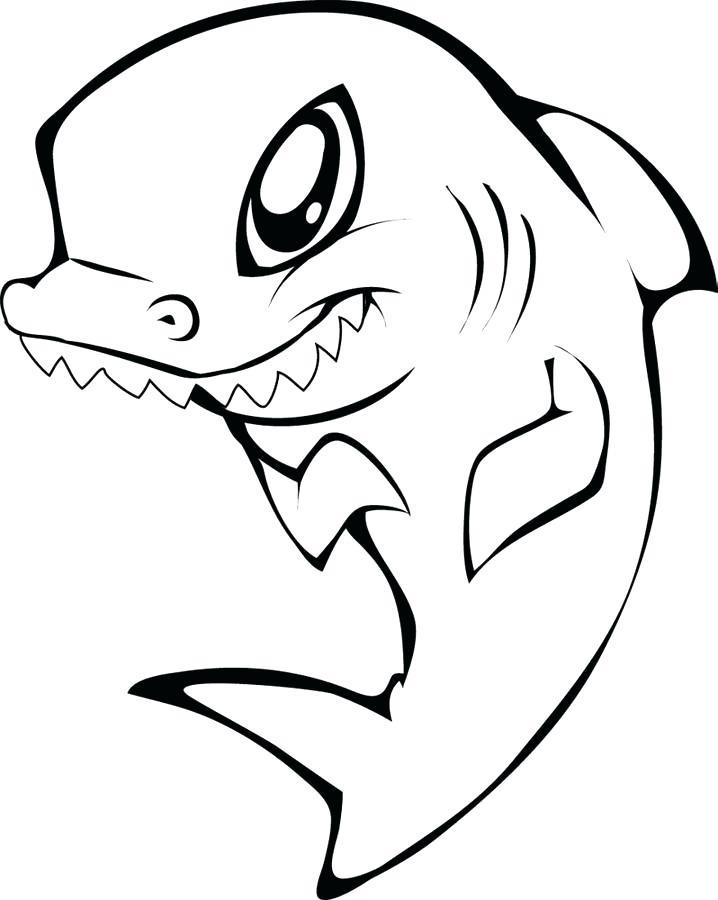 Dibujos De Tiburon Lindo Con Dientes Grandes Para Colorear
