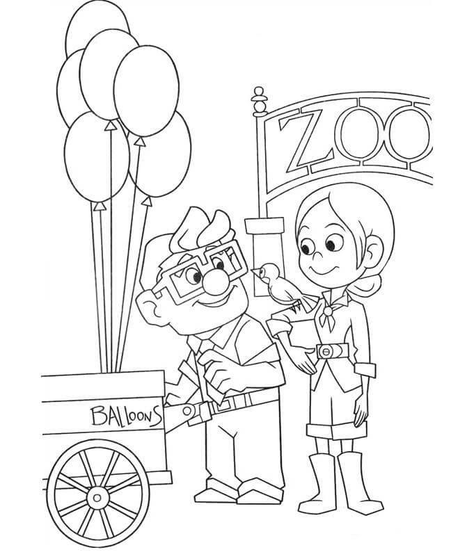 Dibujos De Carl Y Ellie En El Zoológico Para Colorear Pintar E