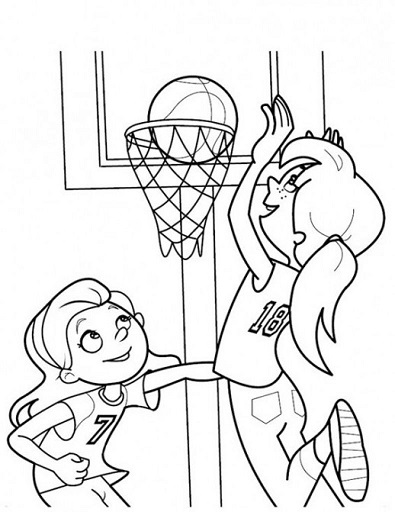 Click to see printable version of Niñas Jugando Baloncesto Coloring page