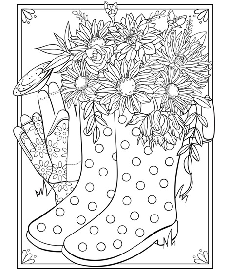 Click to see printable version of Flores En Botas Coloring page