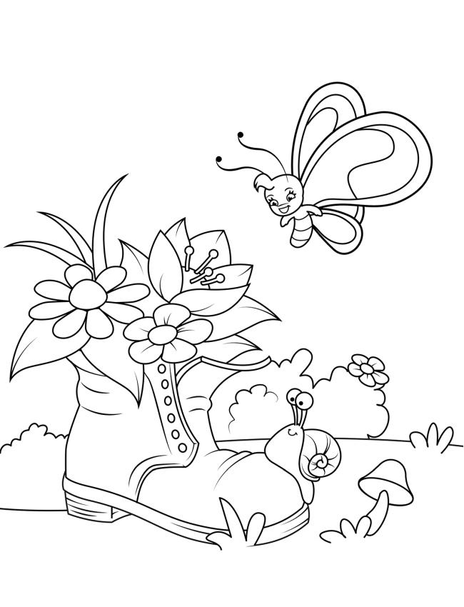 Dibujos De Flores En Zapatos Viejos Para Colorear Pintar E