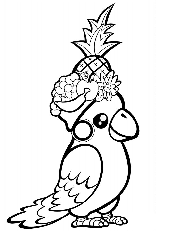Dibujos De Loro Y Frutas Para Colorear Pintar E Imprimir