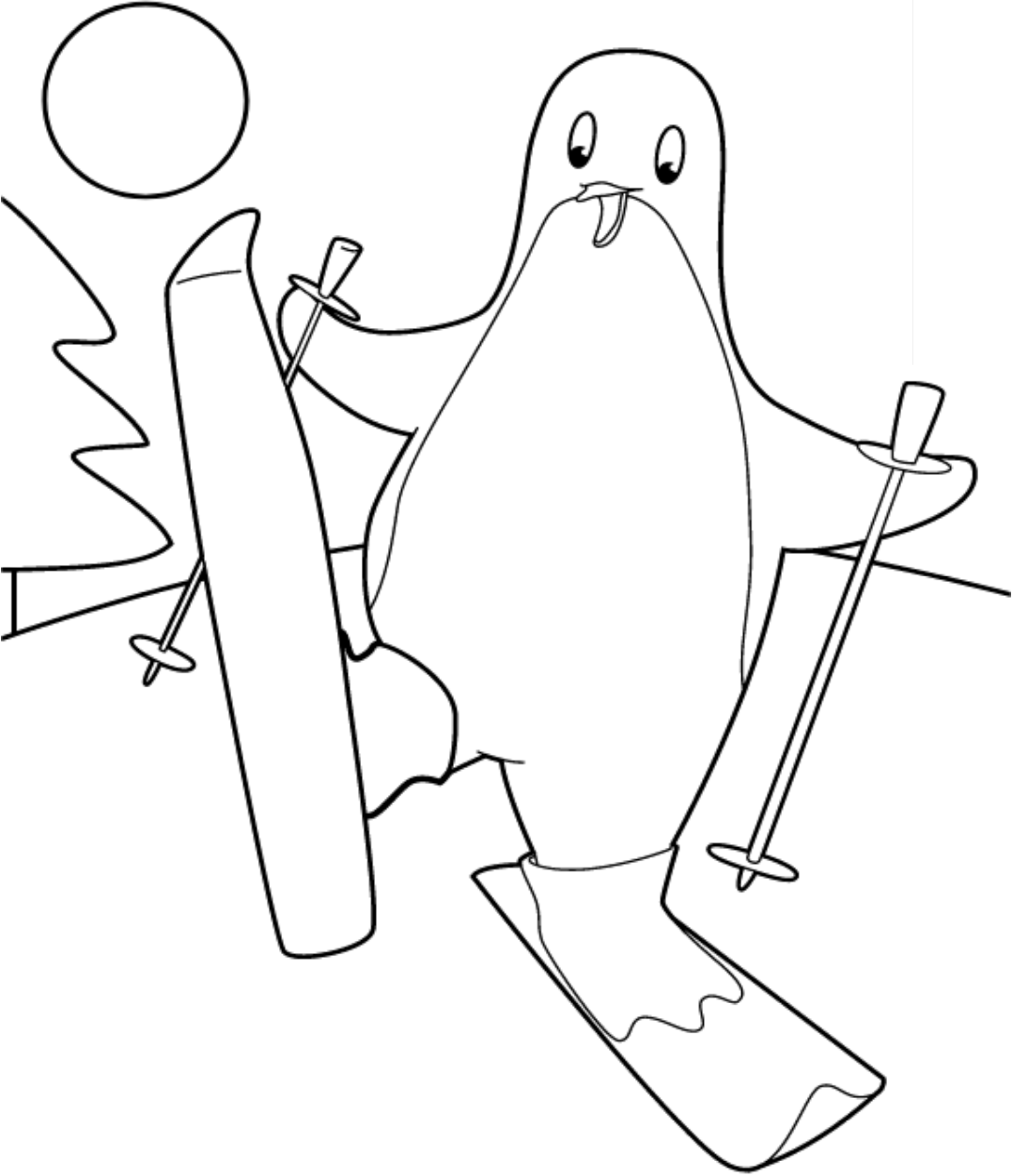 Click to see printable version of Pingüino En Esquiar Coloring page
