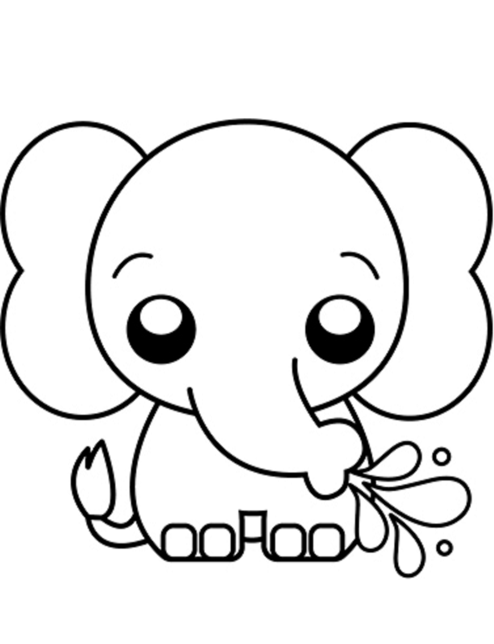 Dibujos de Elefante Kawaii para Colorear, Pintar e ...