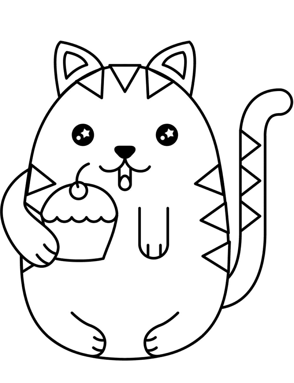 Dibujos De Gato Gordo Kawaii Para Colorear Pintar E