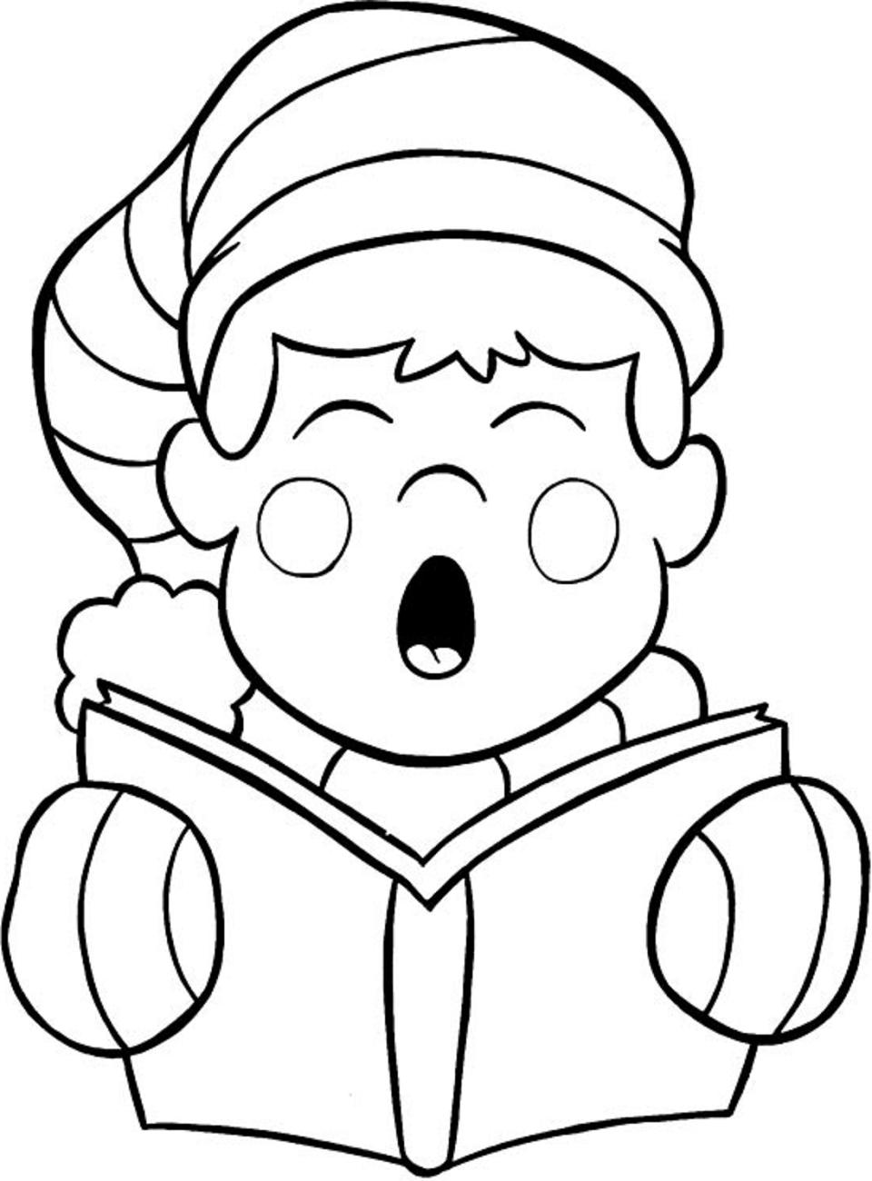 Dibujos De Niño Leyendo Libro En Navidad Para Colorear