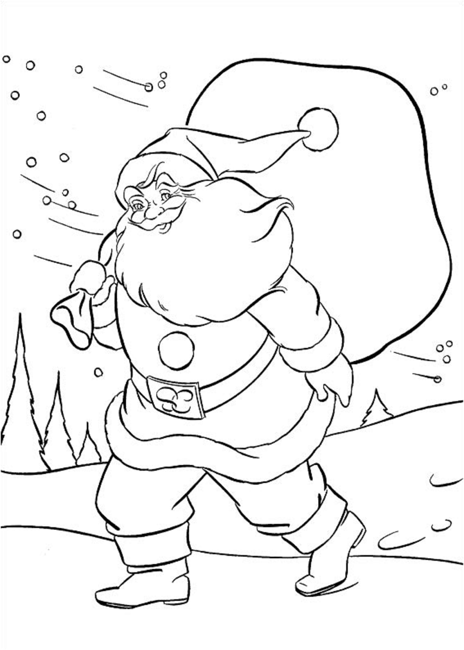 Click to see printable version of Santa Va A Dar Regalos Coloring page